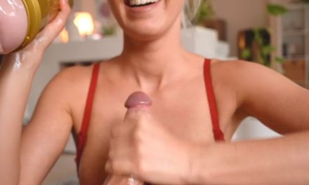 Blond girlfriend, firm round tits, gives a Fleshlight handjob