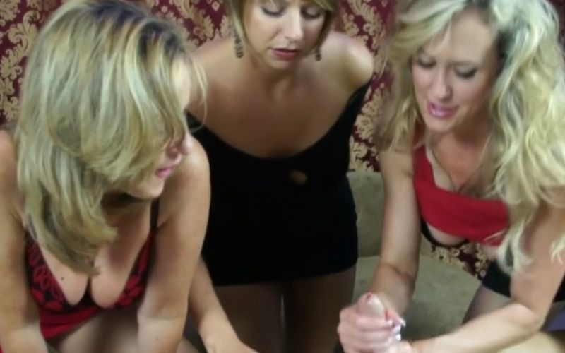 Handjob paradise, three hot milfs are determined to make him cum