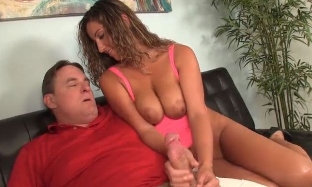 Busty slutty wife gives her hubby a handjob