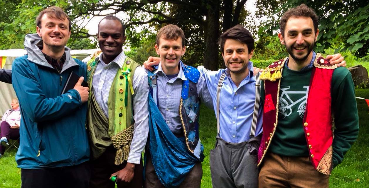 The HandleBards: Olly Jacques, Stanton Plummer-Cambridge, Paul Hilliar, Matt Maltby and Liam Mansfield