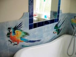 Parrots bathroom tiles detail.