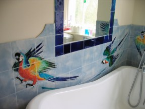 Parrots bathroom tiles detail.