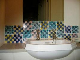 hand decorated washbasin tiles sponge print.