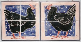 2 black chicken tile panels