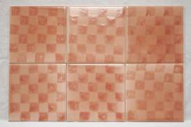 pink chequer sponge print tiles