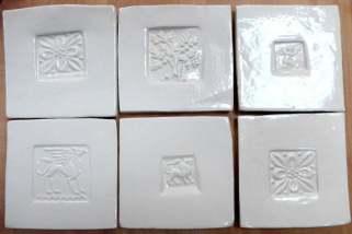 Handmade white tiles