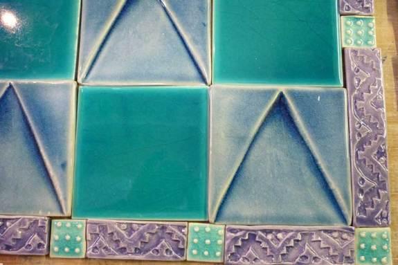 Fired handmade tile mosaic