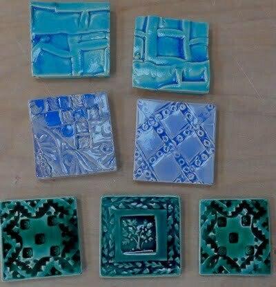 "handmade clay 4"" tiles mixed"