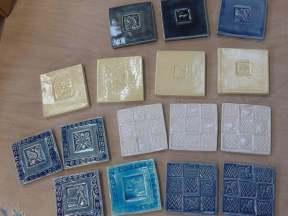 handmade stamped tiles.10 cm.