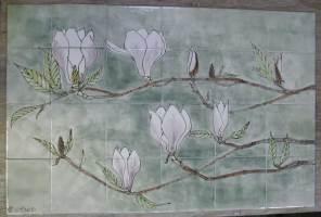 magnolia hob tile panel
