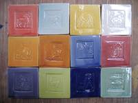 multi coloured glazes , zodiac tiles