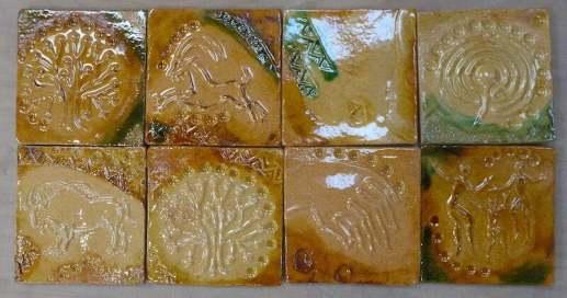 'neolithic design figurative handmade tiles