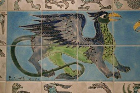 Griffon tiles 'William De morgan style' tiles