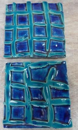 turquoise lattice hand made tile