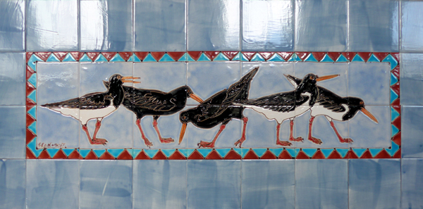 Oystercatcher tile panel