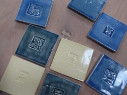 handmade tiles -stamped 10cm