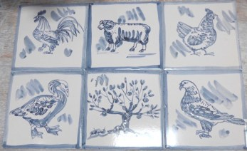 blue and white tiles with borders