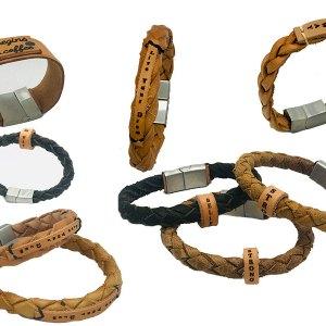 Leren armbanden met tekst