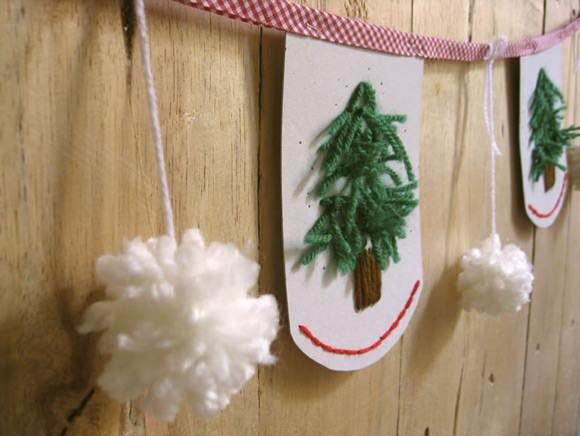 Snowy Forest Embroidered Garland Tutorial Handmade Charlotte