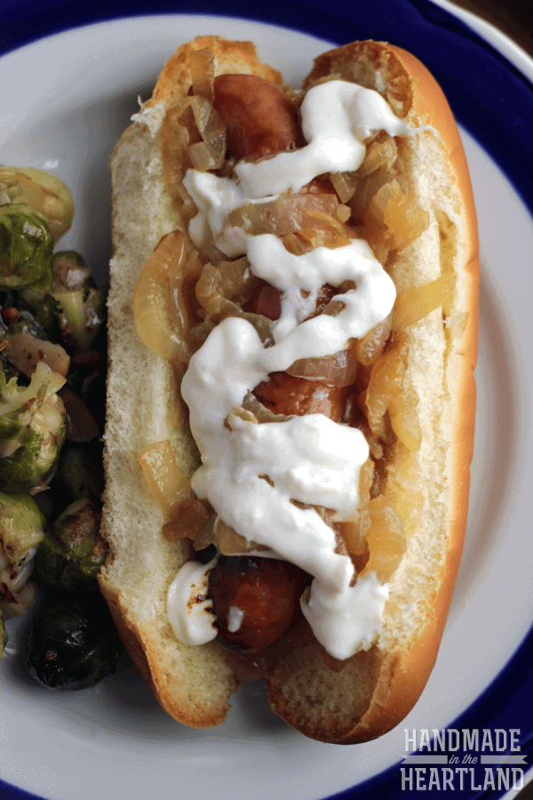 Smoky Bourbon Dogs & Cranberry Bacon Brussels Sprouts