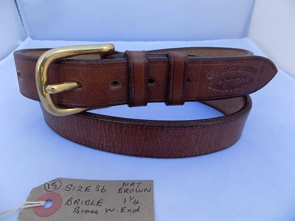 "36"" Bridle, Natural Brown, 1 ¼"" wide, Brass West End buckle"