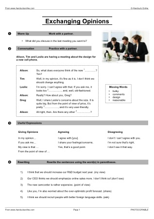 Business English Esl Efl Esol Worksheets From Handouts Online