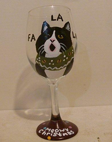 Hand Painted Clarissa The Christmas Caroller Cat Wine Glass Hand