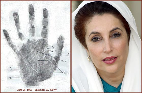 Palmprint of Benazir Bhutto.