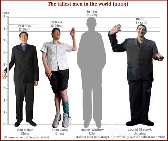 Today Bao Xishun, Zao Liang & Leonid Stadnyk are known as the tallest men in the world.