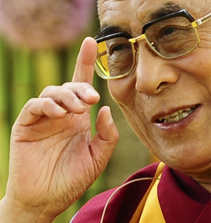 Right hand pointer finger of the Dalai Lama.