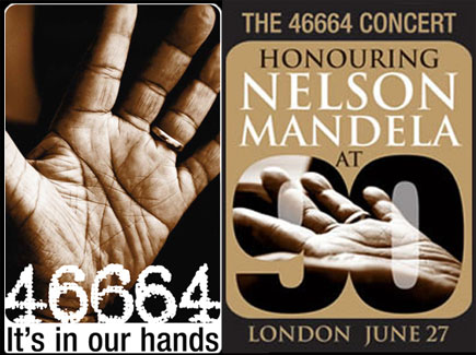 More hand impressions of Nelson Mandela - the 46664 concert project.