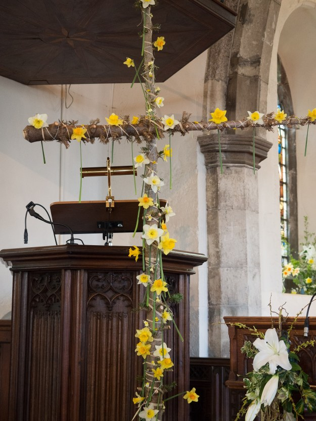 Cross after the main Easter service at Headcorn