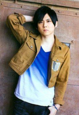 Kaji sporting aSurvey Corps (Attack on Titan) jacket