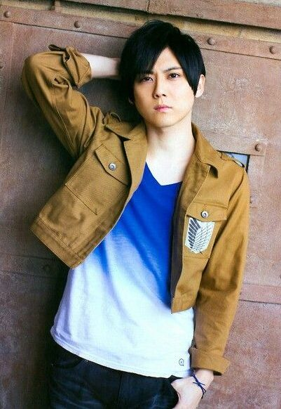 Kaji sporting a Survey Corps (Attack on Titan) jacket