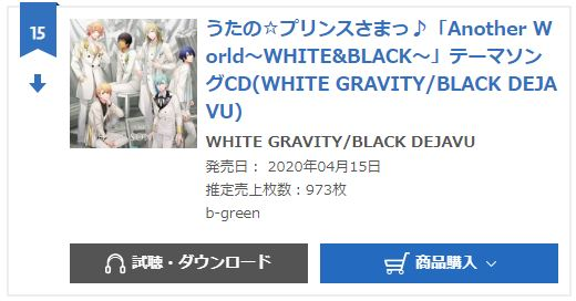 WHITE GRAVITY, BLACK DEJAVU oricon weekly
