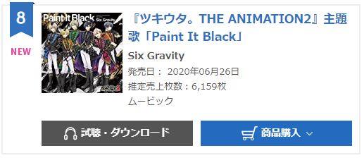 Six Gravity Paint it Black oricon weekly