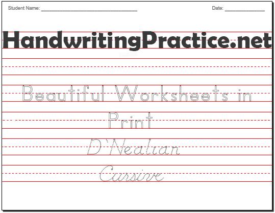 Beautiful Handwriting Practice Worksheets