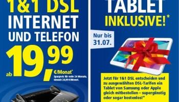 1und1 DSL - Internet und Telefon Aktion inklusive Samsung Galaxy Tablet PC oder supergünstiges Apple iPad