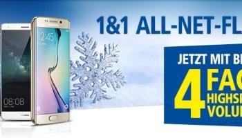 Die 1&1 Allnet-Flat Handytarife für Smartphones mit bis zu 4fachem Datenvolumen - Nur bis zum 31.12.2015