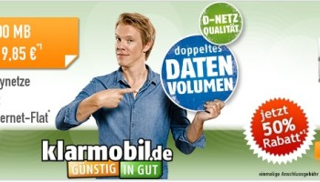 klarmobil.de Allnetflat D2-Netz Handytarif mit 1000 MB Datenflat nur 9,85 Euro monatlich