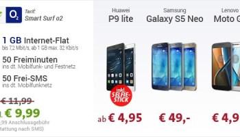 Sparhandy EM Aktion - Das Huawei P9 lite ab 4,95 Euro Zuzahlung mit O2 Smart Surf für 9,99 Euro monatlich