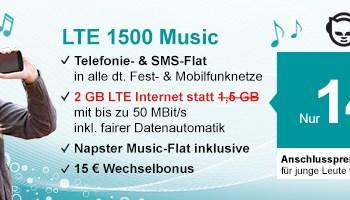helloMobil spendiert zusätzliches LTE Datenvolumen bei den Napster Musicflat Handytarifen