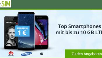 winSIM LTE Allnetflats mit bis zu 10 GB LTE-Datenvolumen im Bundle mit top aktuelles Smartphones ab 1 Euro Zuzahlung