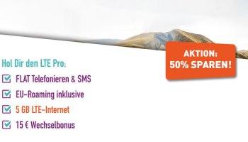 Yourfone LTE Pro Allnetflat Handytarif mit 5GB LTE-Datenvolumen inklusive EU-Roaming für nur 16,99 Euro monatlich