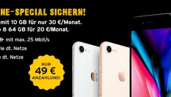 congstar Smartphone Special: Allnet Flat Plus mit 10 GB + iPhone 8 64 GB