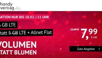 Volumen statt Blumen zum Valentinstag bei handyvertrag.de - 6GB LTE Allnetflat Handytarif für nur 7,99 Euro monatlich