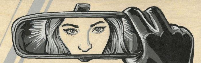 "*SOLD Shhe Reflect 3x9"" Acrylic on Birch Panel"