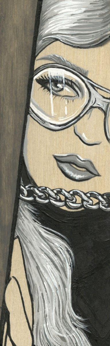 """*SOLD She Cautious 3x9"""" Acrylic on Birch Panel"""