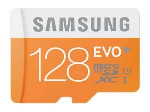 Speicherkarte Samsung EVO-MicroSD 128GB SDXC Class 10 mit Adapter