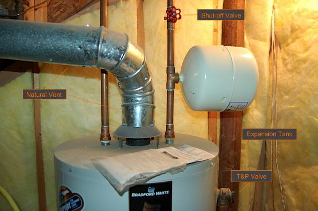 Water Heater, T&P Valve, Expansion Tank